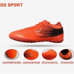 Giày đá banh Đế bằng IC WIKA FLASH Sân cỏ nhân tạo Màu Cam mới