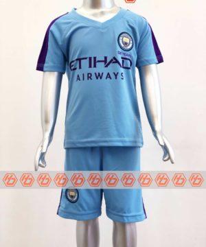 Quần áo bóng đá Trẻ em Manchester City màu Xanh Da mùa giải 19-20