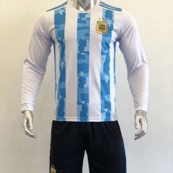Áo đấu Tay dài Đội tuyển Argentina màu Trắng Sọc Xanh mùa giải 19-20