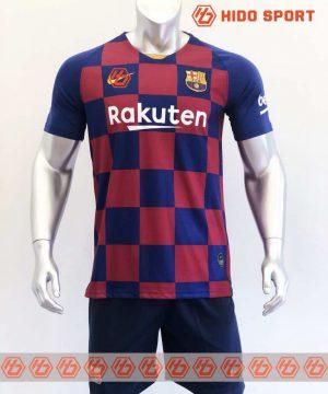 Quần áo bóng đá hàng Thái cao cấp BARCELONA carô màu Xanh Đỏ 2020