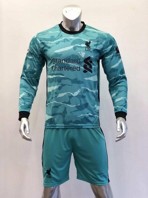 Quần áo bóng đá Tay dài Liverpool màu Xanh Ngọc mùa giải 20-21