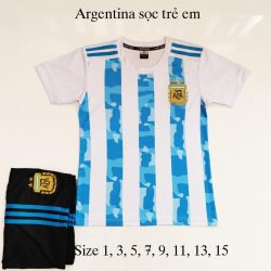 Quần áo bóng đá Trẻ Em Đội Tuyển ARGHENTINA màu Sọc Trắng Xanh 20-21