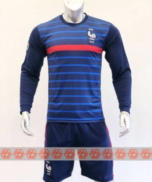 Áo đấu Tay dài Đội Tuyển Pháp màu Xanh Sọc mùa giải 20-21
