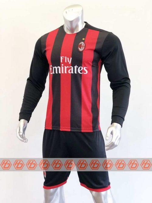 Quần áo bóng đá Tay dài AC Milan màu Đỏ Sọc Đen mùa giải 20-21