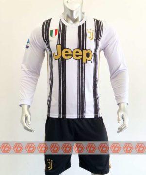 Quần áo bóng đá Tay dài Juventus màu Trắng Sọc Đen mùa giải 20-21
