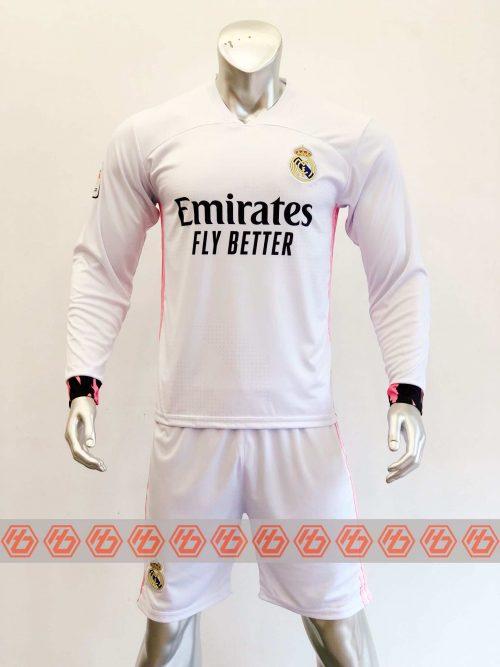 Quần áo bóng đá Tay dài Real Madrid màu Trắng mùa giải 20-21
