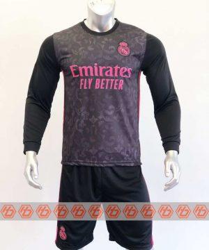 Quần áo bóng đá Tay dài Real Madrid màu Đen mùa giải 20-21