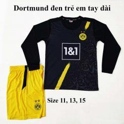 Quần áo bóng đá Tay Dài Trẻ Em Đẹp CLB DORTMUND Màu Đen