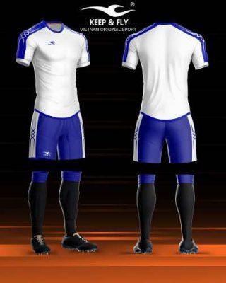 Áo bóng đá không logo cao cấp KEEP & FLY CHAIN BASIC màu Xanh Bícha