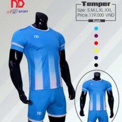 Áo bóng đá không logo thiết kế cao cấp ND-TEMPER màu Đen
