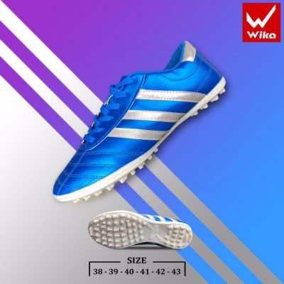 Giày đá banh Đế đinh TF Wika 3 sọc màu Xanh Dương mới