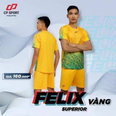 Bộ quần áo bóng đá không logo tự thiết kế cao cấp CP-FELIX màu Vàng 2020