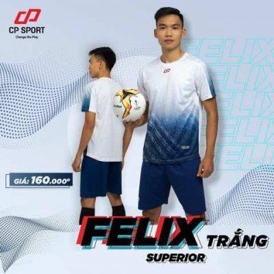 Bộ quần áo thể thao bóng đá không logo tự thiết kế cao cấp CP-FELIX màu Trắng 2020