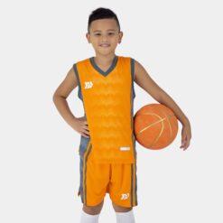 Quần áo bóng rổ Trẻ Em Bulbal-Dino vải mè cao cấp màu Cam