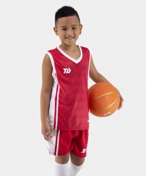 Quần áo bóng rổ Trẻ Em Bulbal-Dino vải mè cao cấp màu Đỏ
