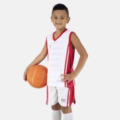 Quần áo bóng rổ Trẻ Em Bulbal-Dino vải mè cao cấp màu Trắng