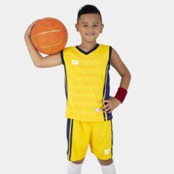 Quần áo bóng rổ Trẻ Em Bulbal-Dino vải mè cao cấp màu Vàng