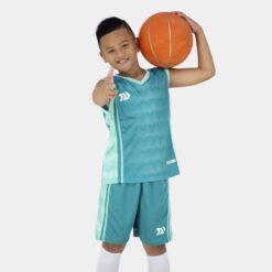 Quần áo bóng rổ Trẻ Em Bulbal-Dino vải mè cao cấp màu Xanh Lý