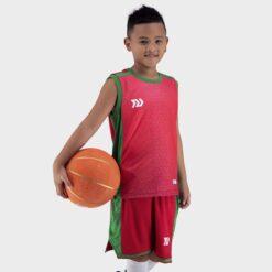 Quần áo bóng rổ Trẻ Em Bulbal-Pacy vải mè cao cấp màu Đỏ