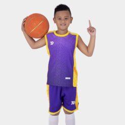 Quần áo bóng rổ Trẻ Em Bulbal-Pacy vải mè cao cấp màu Tím
