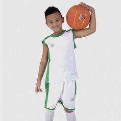 Quần áo bóng rổ Trẻ Em Bulbal-Pacy vải mè cao cấp màu Trắng