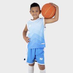 Quần áo bóng rổ Trẻ Em Bulbal-Pacy vải mè cao cấp màu Xanh Da