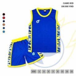 Quần áo bóng rổ Trẻ Em JP-CAMO màu Xanh Bích mới
