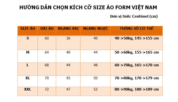 Bảng Size Form Việt Nam