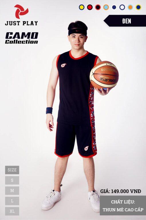 Áo bóng rổ CAMO màu đen