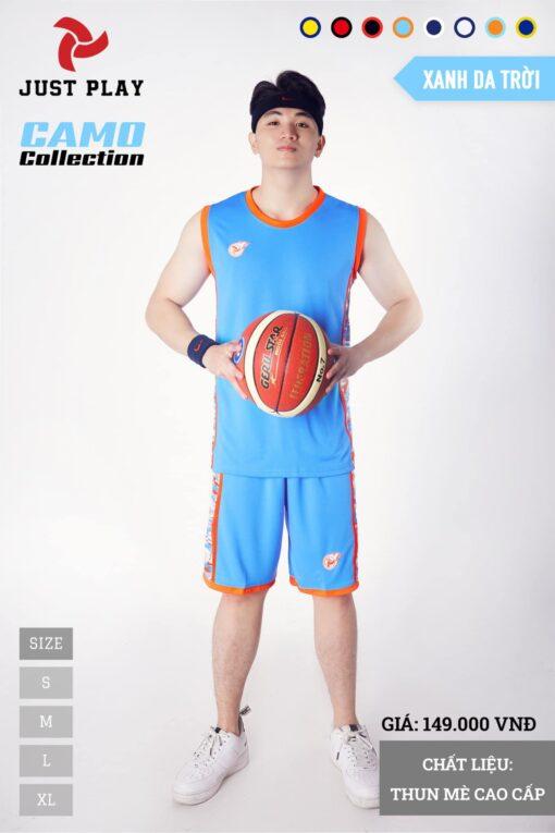 Áo bóng rổ CAMO màu xanh da
