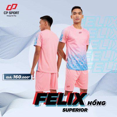 Bộ quần áo thể thao bóng đá không logo tự thiết kế cao cấp CP-FELIX màu Hồng 2020