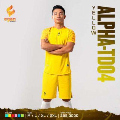 Áo bóng đá không logo cao cấp Egan Alpha-TD04 màu Vàng