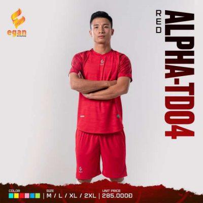 Áo bóng đá không logo cao cấp Egan Alpha-TD04 màu Đỏ