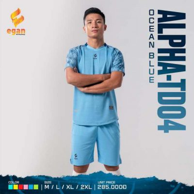 Áo bóng đá không logo cao cấp Egan Alpha-TD04 màu Xanh Biển