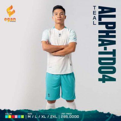 Áo bóng đá không logo thiết kế cao cấp Egan Alpha-TD04 màu Trắng phối Ngọc