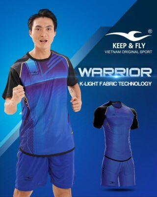 Áo bóng đá không logo Keep Fly WARRIOR màu xanh đen