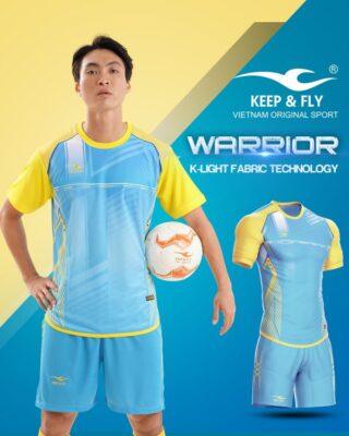 Áo bóng đá không logo Keep Fly WARRIOR màu xanh da