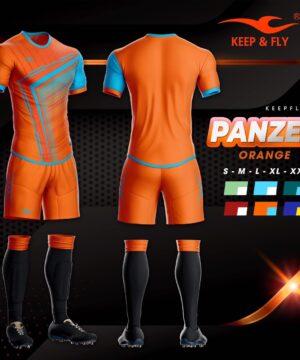 4.Áo bóng đá không logo thiết kế cao cấp KEEP&FLY - PANZER màu Cam