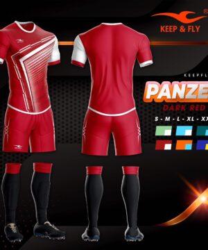 Áo bóng đá không logo thiết kế cao cấp KEEP&FLY - PANZER màu Đỏ