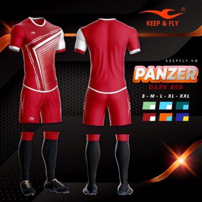 4.Áo bóng đá không logo thiết kế cao cấp KEEP&FLY - PANZER màu Đỏ