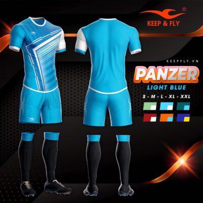 4.Áo bóng đá không logo thiết kế cao cấp KEEP&FLY - PANZER màu Xanh Da