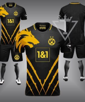 Quần áo đá banh chế CLB Dortmund màu Đen 2021