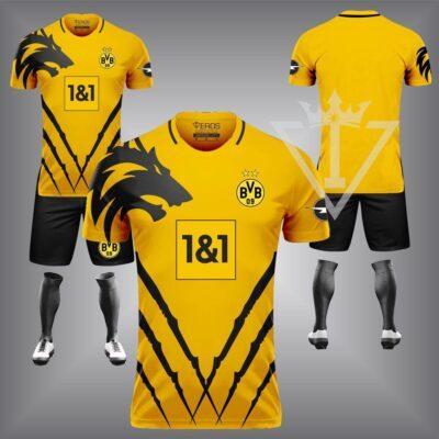 Quần áo đá banh chế CLB Dortmund màu Vàng 2021