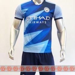 Quần áo bóng đá CLB Man City Fanmade màu Xanh da mùa giải 21-22