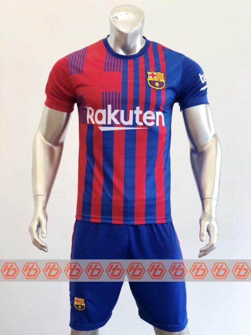 Quần áo bóng đá CLB Bacerlona màu Xanh sọc mùa giải 21-22