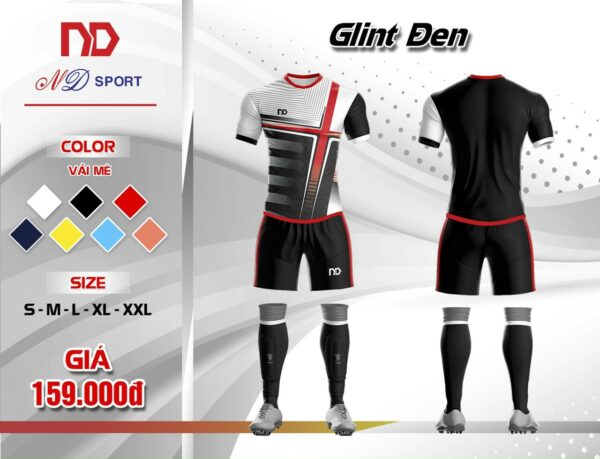 Áo bóng đá không logo thiết kế cao cấp ND - GLINT màu đen