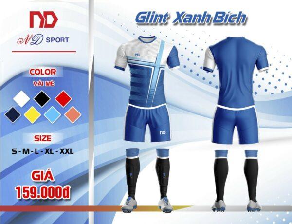 Áo bóng đá không logo thiết kế cao cấp ND - GLINT màu xanh bích