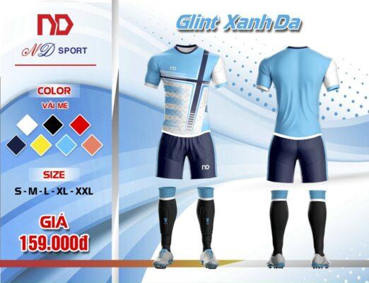 Áo bóng đá không logo thiết kế cao cấp ND - GLINT màu xanh da