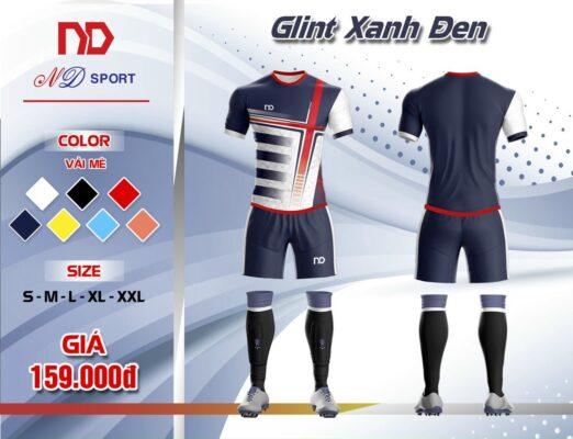 Áo bóng đá không logo thiết kế cao cấp ND - GLINT màu xanh đen