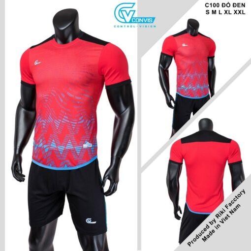 Áo bóng đá không logo Riki CONVIS-C100 màu đỏ